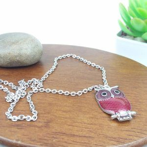 Owl Charm Silver Tone Necklace